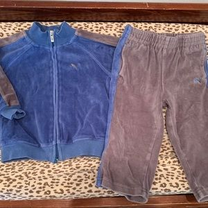 Puma Blue and Gray Velour Suit
